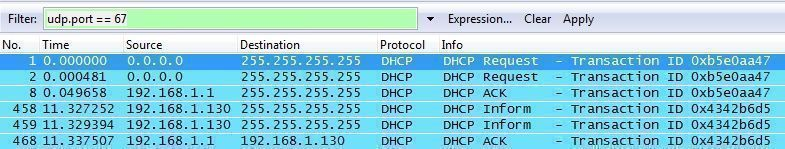 Paquetes dhcp con Whireshark