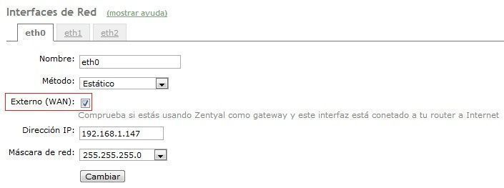 Interfaces Zentyal