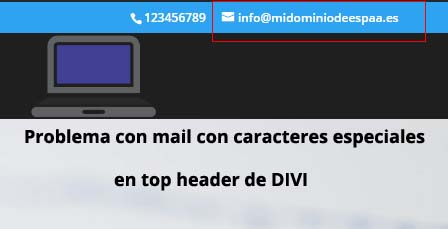 caracteres especiales mail en top header Divi