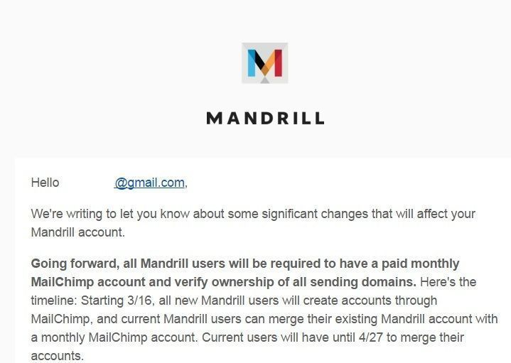 important changes to mandrill