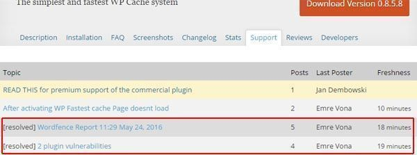 wp fastest cache plugin support