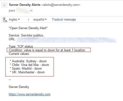 alerta email servicio tcp caido server density