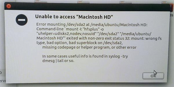 Unable to access Macintosh HD