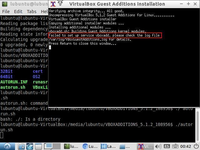 error instalacion guest additions-failed to set up service vboxadd