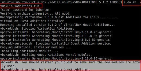 vboxadd.sh starting the virtualbox guest additions