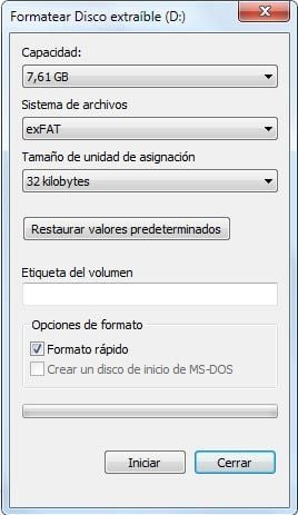 formatear disco extraible