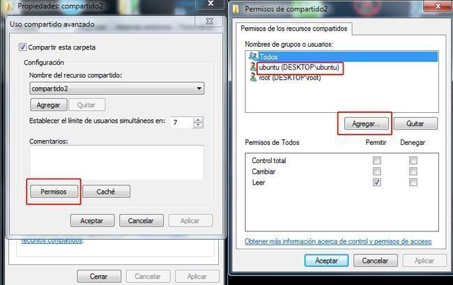 permisos recurso compartido windows