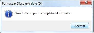 Windows no pudo completar el formato