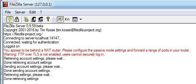 You appear to be behind a NAT router | Error Filezilla