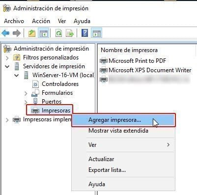 Instalar impresoras Windows Server 2016