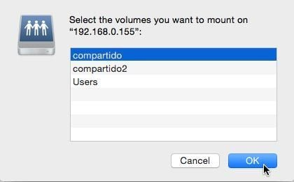mac smb select the volumes you want to mount