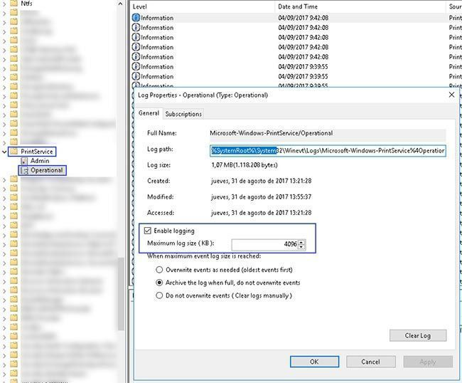 event viewer printservice operational