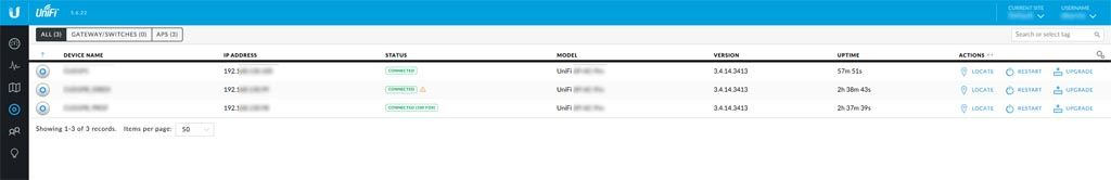 ubitiqui unifi devices dashboard
