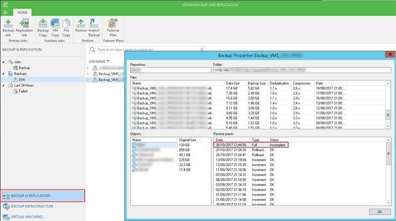 veeam backup and replication incomplete backup