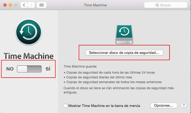 time machine seleccionar disco copia seguridad