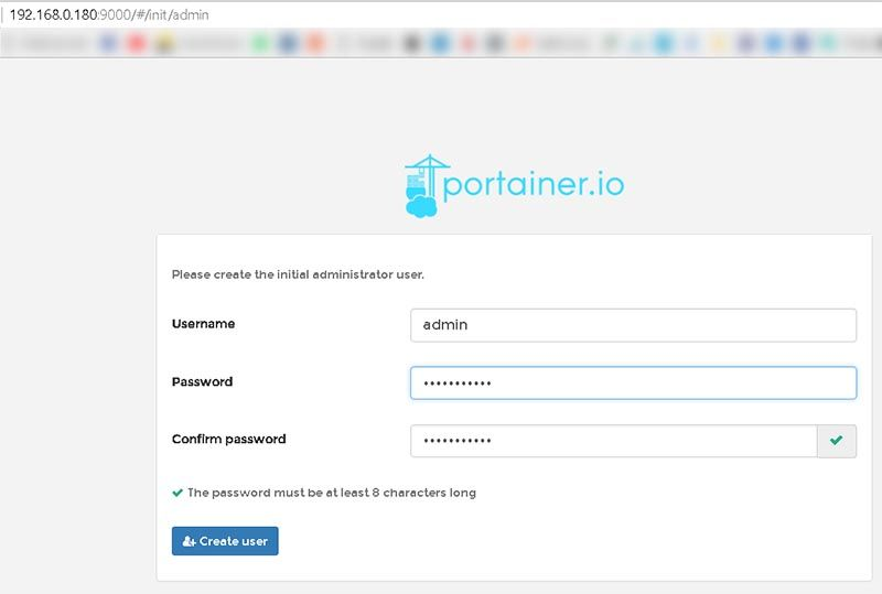 docker portainer create administrator user