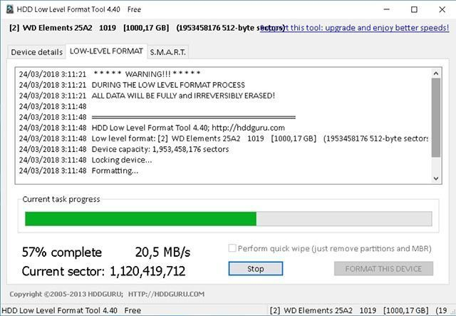 Formatear a bajo nivel con HDD Low Level Format Tool