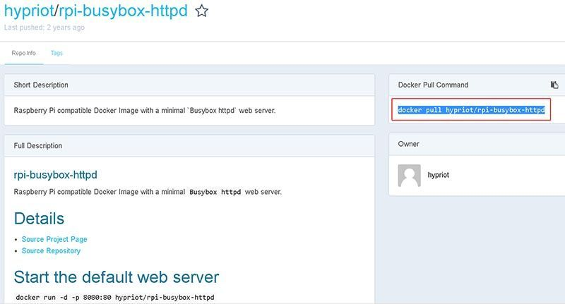 hypriot httpd web server docker image raspberry arm