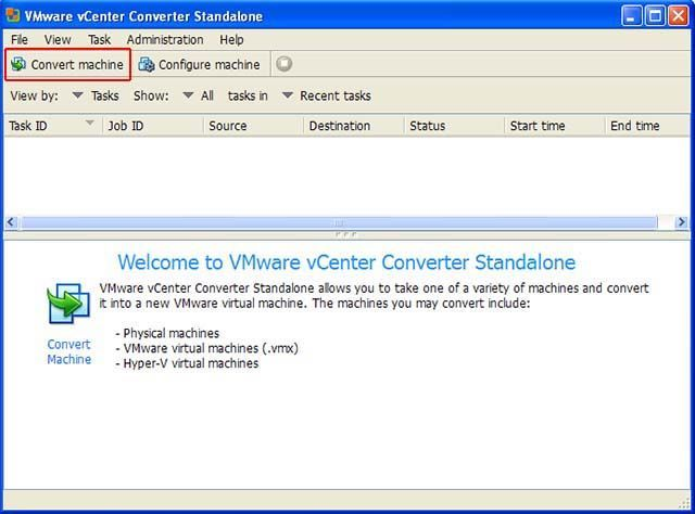 convert machine vcenter converter