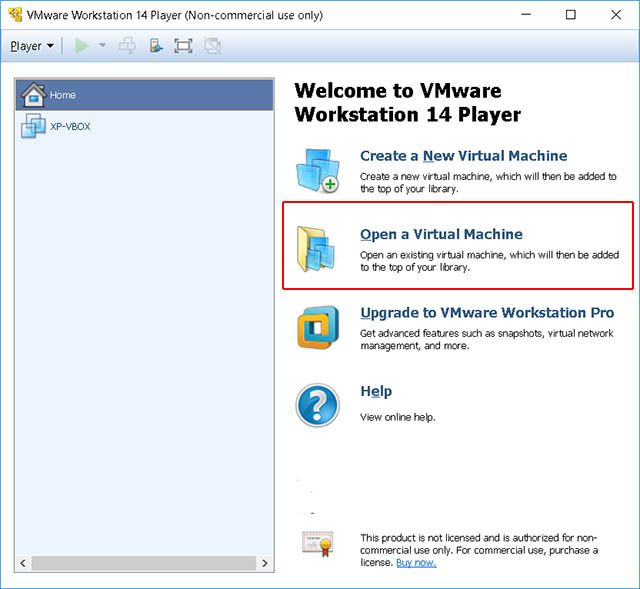 open a virtual machine vmware player