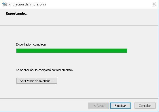 exportacion completa impresoras windows