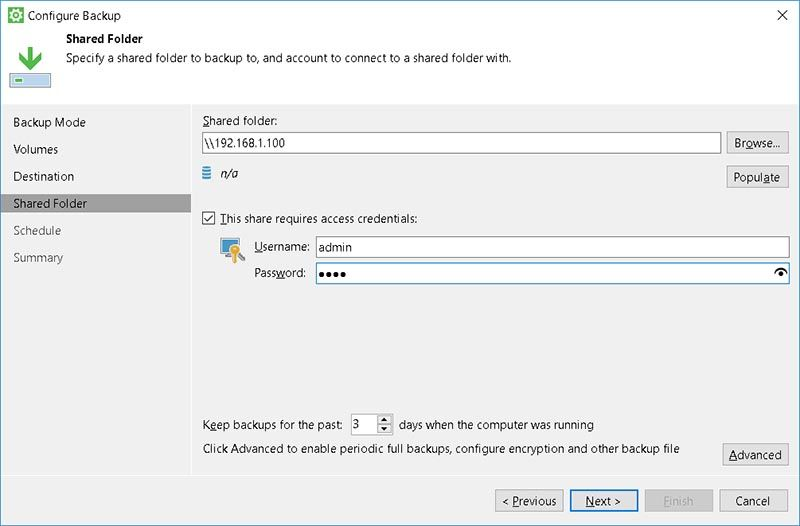 veeam shared folder destination