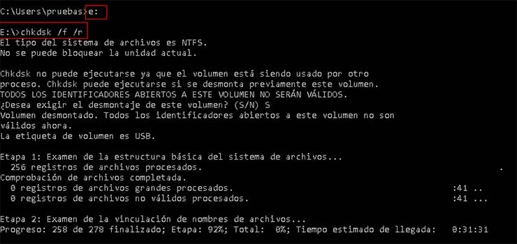 chkdsk windows reparar errores disco particion