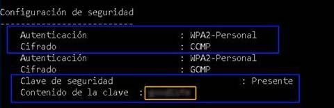mostrar parametros de configuracion de red wifi en Windows