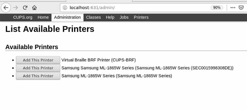 cups linux find printers