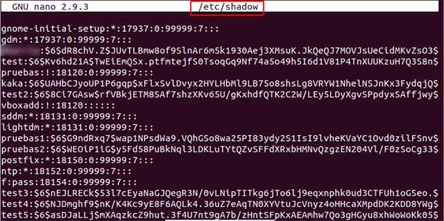 /etc/shadow - hashes passwords