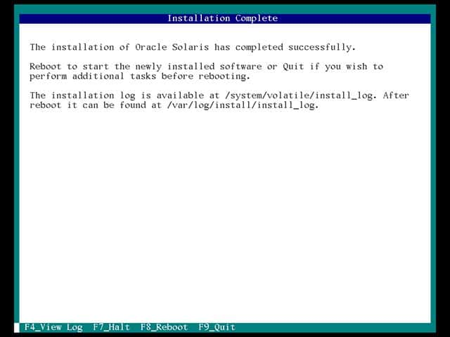 the installation of oracle solaris has completed successfully
