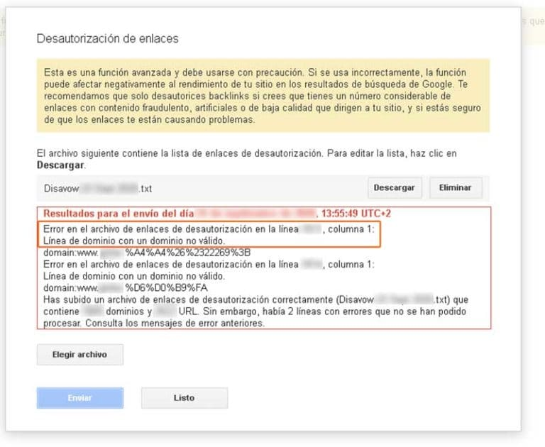 error en el archivo de enlaces de desautorizacion dominio no valido