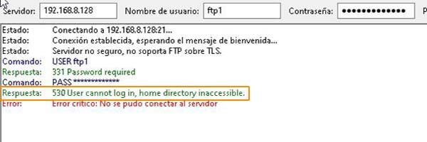 error filezilla ftp user cannot log in home directory inaccessible